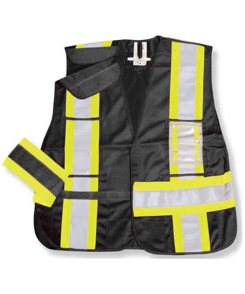 Black 100% Polyester 5 PT. Safety Vest