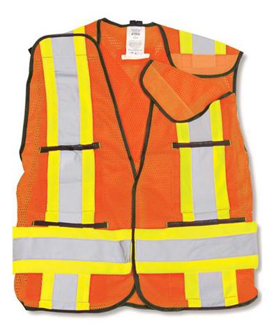 Orange 100% Polyester Soft Mesh Safety Vest