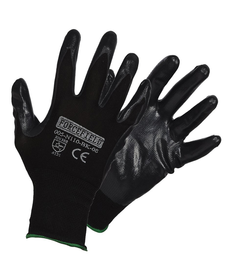 Black nitrile palm coating, black nylon