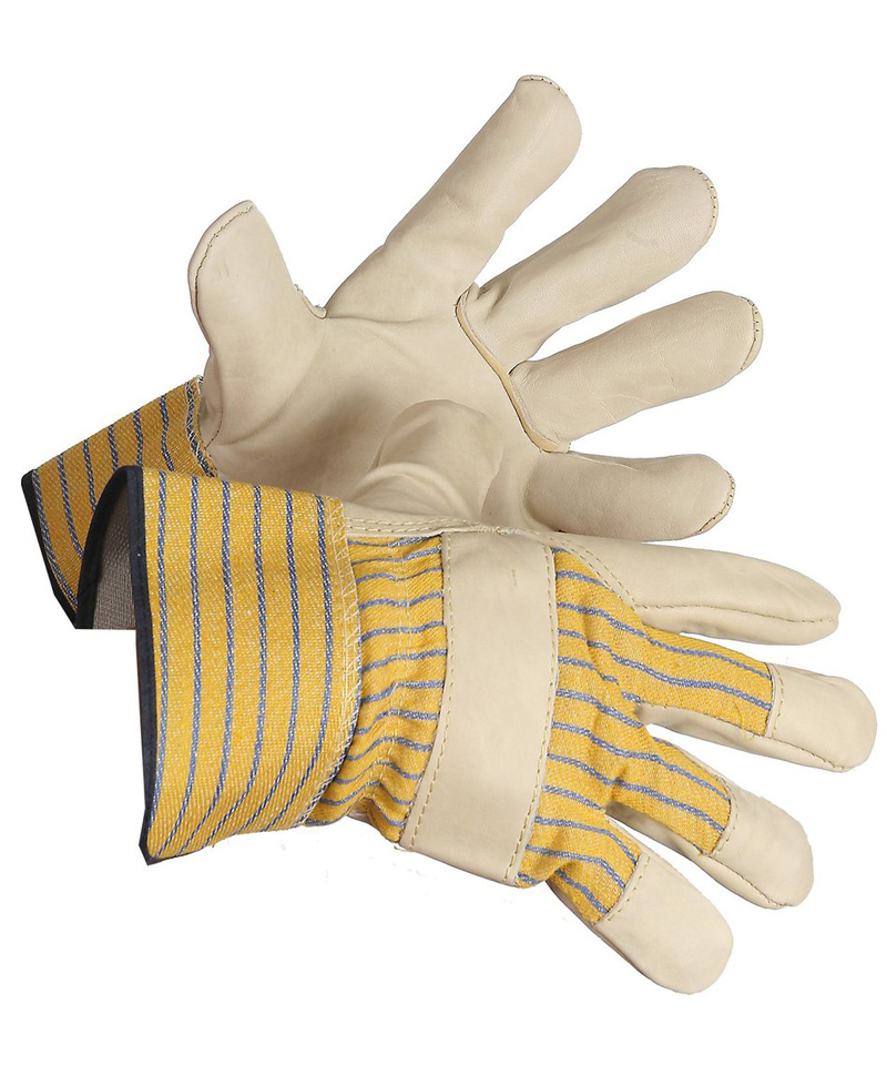 Cowgrain one piece beige leather palm glove